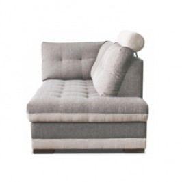 Lenoška v pravém provedení s úložným prostorem a záhlavkem v jednoduché moderní šedé a krémové TK083