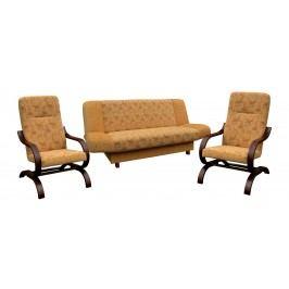 Rozkládací sedací souprava v dekoru ořech v kombinaci s žlutou barvou se vzorem 3+1+1 F1065