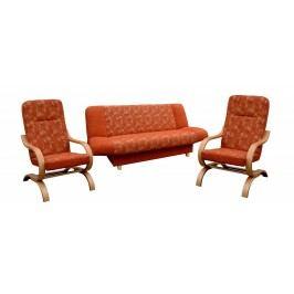 Rozkládací sedací souprava v dekoru buk v kombinaci s oranžovou barvou se vzorem 3+1+1 F1065