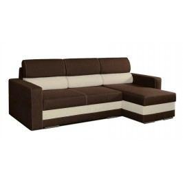 Rozkládací rohová sedačka s úložným prostorem v hnědé a béžové barvě KN201