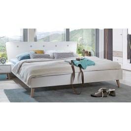 Elegantní manželská postel 160x200 cm v barevném provedení bílá a dub typ 351 KN077