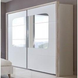 Moderní šatní skříň v barevné kombinaci dub a bílé barvy typ 794 KN077