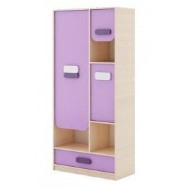 Dětská skříňka v dekoru dub kremona a lavenda ve fialové barvě typ G04 KN083