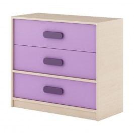 Dětská komoda v dekoru dub kremona a lavenda ve fialové barvě typ G08 KN083