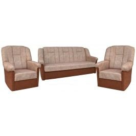 Rozkládací sedací souprava s úložným prostorem v kombinaci hnědé a béžové barvy 3+1+1 F1046