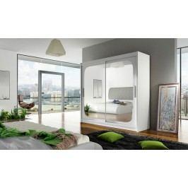 Moderní šatní skříň s velikým zrcadlem v barevném provedení bílá typ VIII KN110