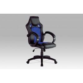 Kancelářské křeslo v kombinaci černá ekokůže a modrá látka MESH KA-F281 BLUE