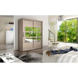 Elegantní šatní skříň s posuvnými dveřmi a zrcadly v barevném provedení dub lanýžový typ VII KN116