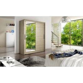 Elegantní šatní skříň s posuvnými dveřmi a zrcadlem v barevném provedení dub sonoma typ VI KN115
