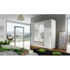 Moderní šatní skříň s vlnitým zrcadlem v barevném provedení bílá typ X KN111