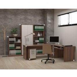 Kancelářská sestava se sedmi komponenty v provedení švestka a bílá barva TK185