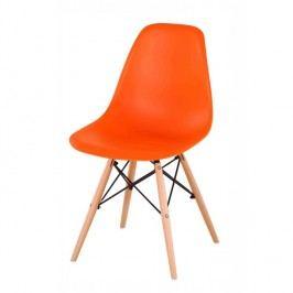 Designová trendy židle v kombinaci dřeva a plastu oranžové barvy TK078