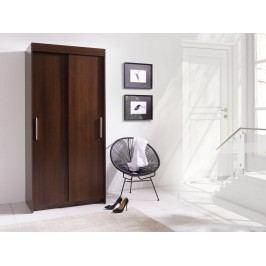 Šatní skříň v tmavě hnědé barvě z lamina 100 cm F1068