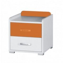 Noční stolek v kombinaci bílé a oranžové barvy z lamina F1061