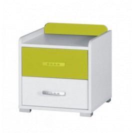 Noční stolek v kombinaci bílé a zelené barvy z lamina F1061
