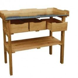 Zahradní pracovní stolek dřevěný se zásuvkami
