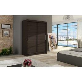 Šatní skříň s posuvnými dveřmi v tmavě hnědé barvě F1126