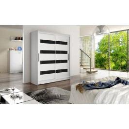 Skříň s posuvnými dveřmi v bílé barvě v kombinaci s černými pruhy F1113