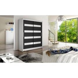 Skříň s posuvnými dveřmi v kombinaci černé a bílé barvy s bílými pruhy F1113