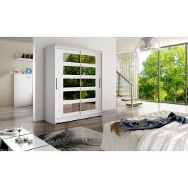 Skříň s posuvnými dveřmi v bílé barvě s malými zrcadly F1113