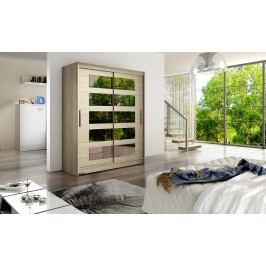 Skříň s posuvnými dveřmi v dekoru dub sonoma s malými zrcadly F1113