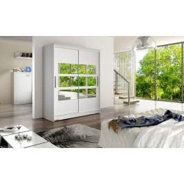 Skříň s posuvnými dveřmi v bílé barvě s malými zrcadly na středu F1113