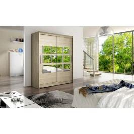 Skříň s posuvnými dveřmi v dekoru dub sonoma s malými zrcadly na středu F1113