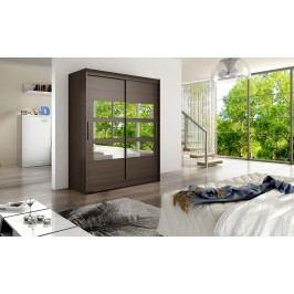 Skříň s posuvnými dveřmi v tmavě hnědé barvě s malými zrcadly na středu F1113