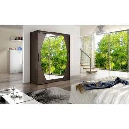 Skříň s posuvnými dveřmi v tmavě hnědé barvě se zrcadly do oblouku F1113