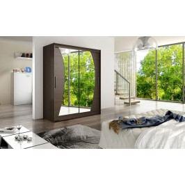 Skříň s posuvnými dveřmi v tmavě hnědé barvě se zrcadly do půloblouku F1113