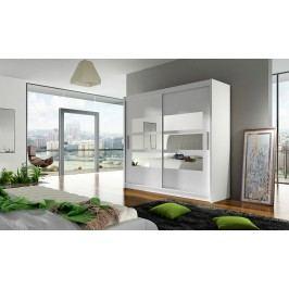 Skříň s posuvnými dveřmi v bílé barvě s malými zrcadly F1104