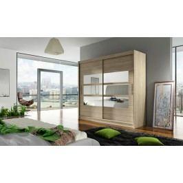 Skříň s posuvnými dveřmi v dekoru dub sonoma s malými zrcadly F1104