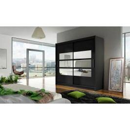 Skříň s posuvnými dveřmi v černé barvě s malými zrcadly F1104