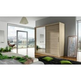 Skříň s posuvnými dveřmi v dekoru dub sonoma se zrcadlem F1104