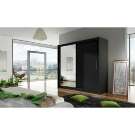 Skříň s posuvnými dveřmi v černé barvě se zrcadlem F1104