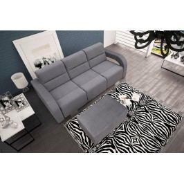Rozkládací pohovka s taburetem v šedé barvě F1093