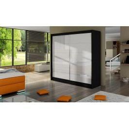 Elegantní šatní skříň s posuvnými dveřmi v černé a bílé barvě typ I KN316