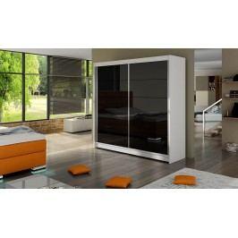 Elegantní šatní skříň s posuvnými dveřmi v bílé a černé barvě typ I KN316