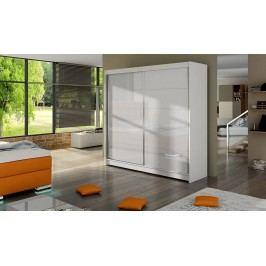 Elegantní šatní skříň s posuvnými dveřmi v bílé barvě typ I KN316