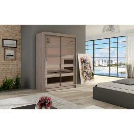 Elegantní šatní skříň s posuvnými dveřmi v barvě dub lanýžový se zrcadly typ IV KN326