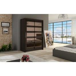 Elegantní šatní skříň s posuvnými dveřmi v čokoládové barvě se zrcadly typ IV KN326