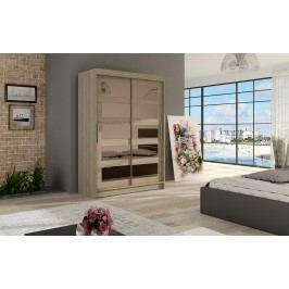 Elegantní šatní skříň s posuvnými dveřmi v barvě dub sonoma se zrcadly typ IV KN326