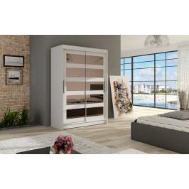 Elegantní šatní skříň s posuvnými dveřmi v bílé barvě se zrcadly typ IV KN326