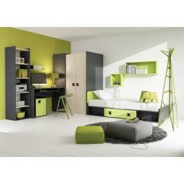 Dětská sestava v barvě grafit a zelené v kombinaci s dekorem dub KN1041
