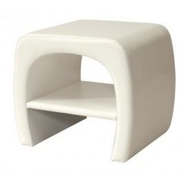 Noční stolek v bílé ekokůži s policí KN718