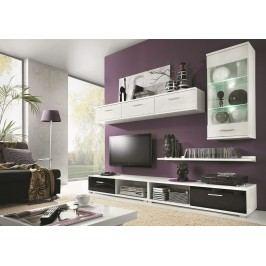 Obývací stěna v elegantní bílé a černé barvě KN367