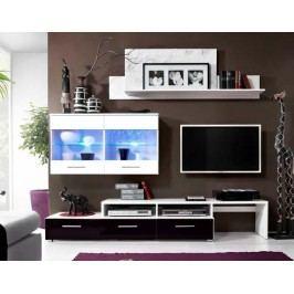 Obývací stěna v bílé barvě v kombinaci s černým leskem KN207