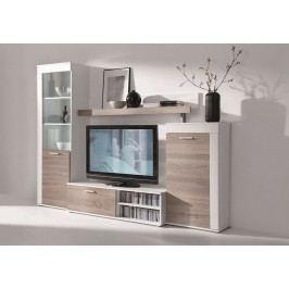 Obývací stěna v trendy dekoru bílá dub sonoma lanýž KN177