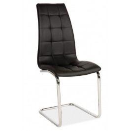 Jídelní židle s čalouněním v černé ekokůži na kovové konstrukci KN679