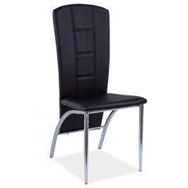Jídelní čalouněná židle v černé barvě na kovové konstrukci KN1075